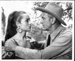 "Sara Montiel on screen with Gary Cooper in ""Vera Cruz"""